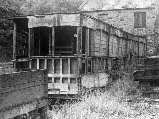 Car No.13 stored outside the 'Creosote Cottage' at Dhoon Quarry in the 1950s © Travel Lens Photographic