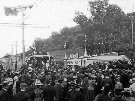 Opening day at Ballure on August 2nd 1898, with a large crowd present.