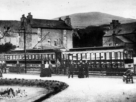 Ramsey shortly after opening in 1899, with a 'Tunnel Car' wearing the newly applied 'Douglas Laxey and Ramsey Electric Tramway' title, and 1898-built Trailer No.44 (destroyed in the April 1930 Laxey Car Shed fire) © Website Collection