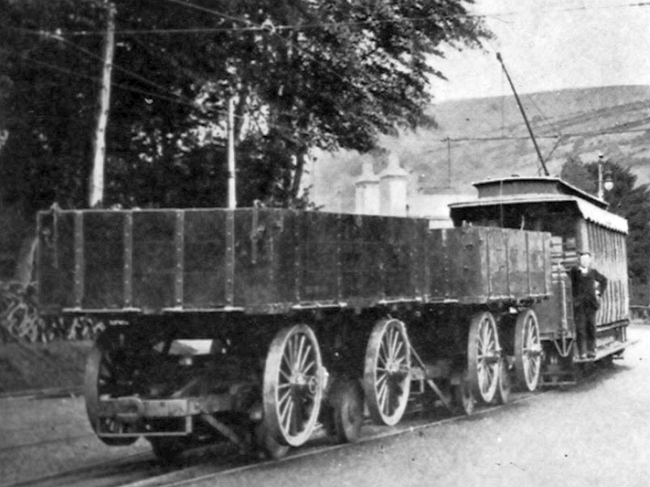 Two of the Bonner Wagons at Laxey with a 14-18 series Car. © Website Collection