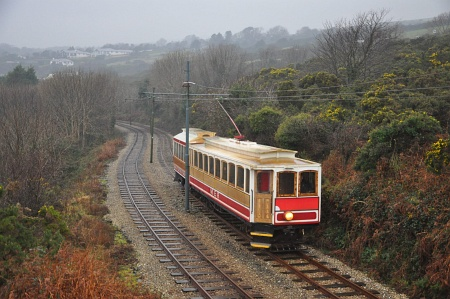 Car No.20 and Trailer No.59 seen on the 13:10 from Derby Castle passing Laxey Old Road, 17.01.13. © Andrew Scarffe