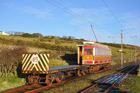 Car No.6 with Works Trailer No.45 at Ballaragh in early January 2013. © Andrew Scarffe