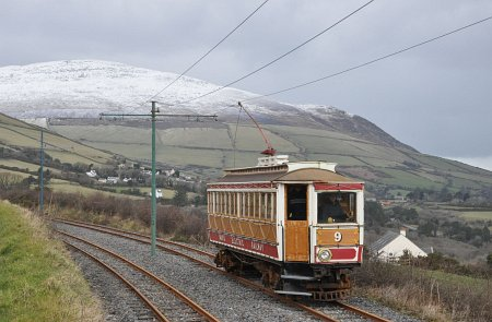 Car No.9 passing Browns Crossing, with a snow covered North Barrule as a backdrop, 10.03.13 © Andrew Scarffe