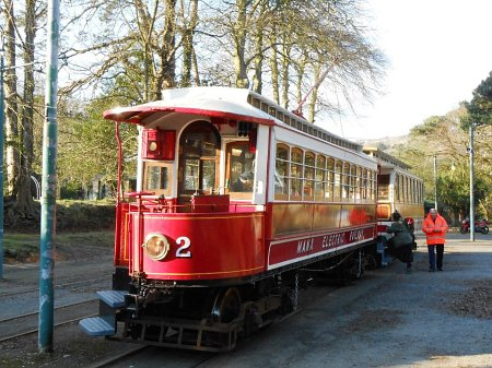 Car No.2 on its second day in passenger service since September 2010 on the 30th March. The 1893-built Car is seen at Laxey with Trailer No.57 at 4:55pm.