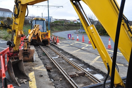 Relaying work underway at Harbour Road Level Crossing, Onchan. © Andrew Scarffe