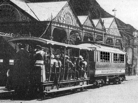 A 4-9 series Car with a 49-54 series Trailer at Derby Castle during the early 1900s. © Website Collection