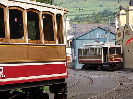 Cars No.20 and No.21 at Laxey during July 2012. © Alex Fairlie