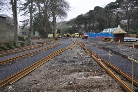 Laxey Station undergoing track renewal on December 15th.
