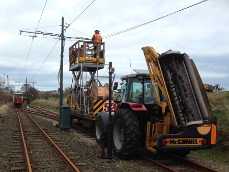 Car No.32 and Trailer No.52 on Overhead line repair duties in February 2014. © Craig Denning