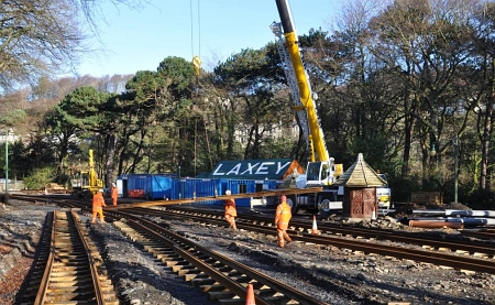 Tracklaying at Laxey recommenced in January 2014. © Andrew Scarffe