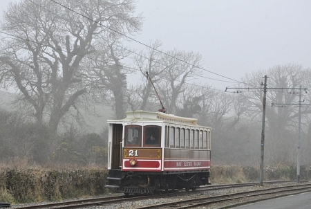 Car No.21 climbs towards Baldromma with a service for Laxey Car Shed, 13.03.14. © Andrew Scarffe