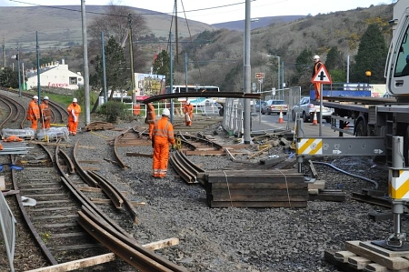 The second crossover to the north of Laxey station is installed, 15.03.14. © Andrew Scarffe