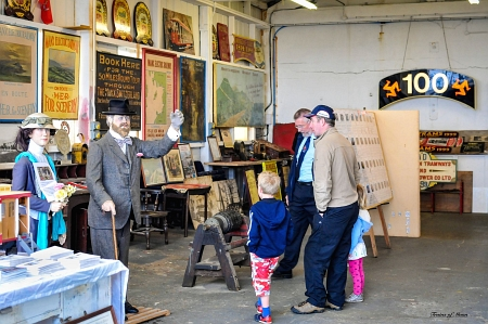 Visitors view artifacts in the Derby Castle Car Shed museum. © David Lloyd-Jones