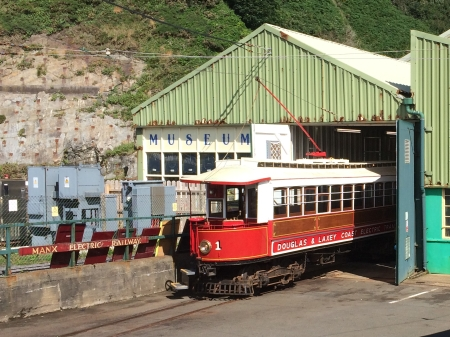 The Manx Electric Railway Museum, with Car No.1 on display outside.