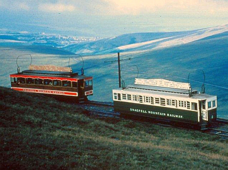 Old and New Liveries pass near the Summit: Car No.5 heads down while Car No.2, wearing the Green Livery, heads up. © Alan Spencer Collection