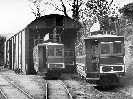 Laxey Snaefell Car Shed pre-nationalisation in 1956, with Car No.4, No.2 and No.3 present. © Website Collection