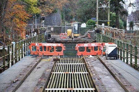 Removal of the wooden decking underway at Ballure Viaduct, 16.11.14