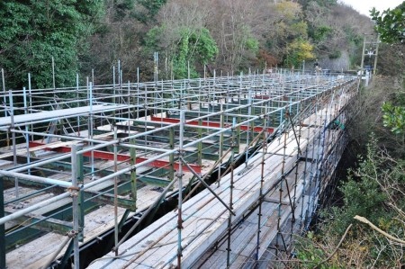 Scaffolding surrounds Ballure Viaduct as part of its refurbishment, 30.11.14.