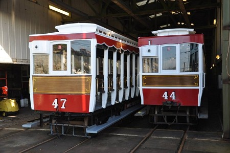 Repainted Trailers 47 and 44 at Derby Castle, 02.12.14