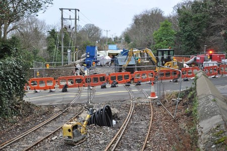 Track relaying work taking place at Ballure level crossing, 11.01.15
