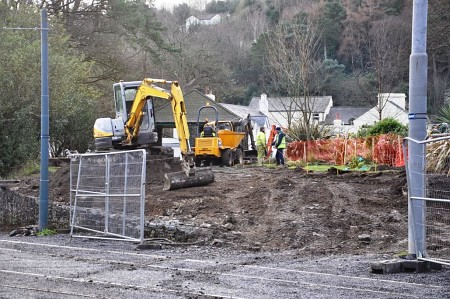 The creation of a new ramp into the Rose Gardens at Laxey, 18.01.14