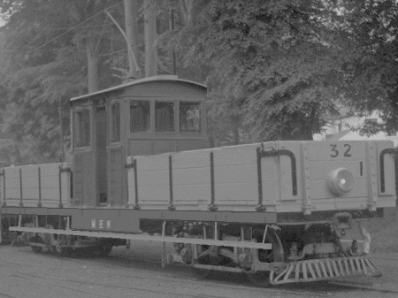 Car No.32 from late 1941, where it had Snaefell No.7 'Maria's cab transplanted onto the frames between the two open wagons 17 and 18 to assist with the Laxey Mines dead removal.