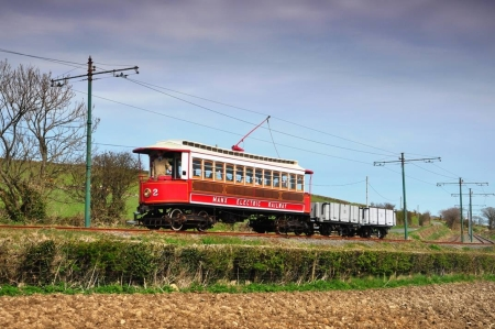 Car No.2 hauling Wagons No.8 and No.10 at Ballaskeig, 19/04/2015. © Andrew Scarffe