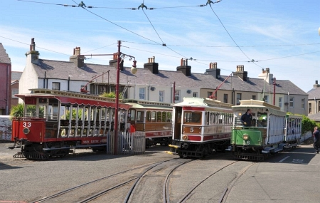 Cars 33, 5 and 16 wait at the northern terminus on Ramsey Sprint Day, 9th June 2015. © Andrew Scarffe