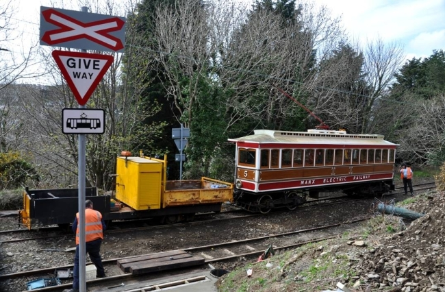 Work underway at Laxey Old Road on the 15th of April with Car No.5 towing RF308. © Andrew Scarffe
