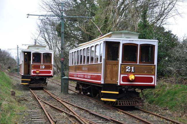 Car No.21 departs south from Garwick while Car No.19 waits to reverse over the crossover and enter the single line section to Laxey Car Shed. © Andrew Scarffe